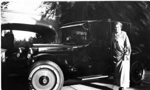 Mrs. Shirk and one of her beloved vehicles